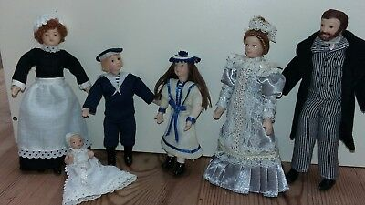 Dolls House Emporium Dolls Family Man Lady Baby Maid Doll 12Th Scale Furniture