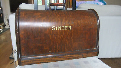 Vintage Singer Sewing Machine Wooden Case with catch lock- Case only