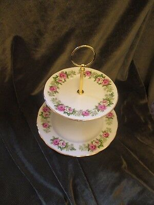 Lovely Vintage Colclough China Plated 2 Tier Cake Stand 'enchantment'