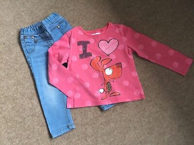 "Girls Next ""i Love Dogs"" Detailed Top And Skinny Jeans Outfit Age 18 - 24 Months"