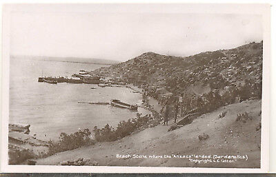 "Unused real photo card of the Dardanelles ""Anzac"" beach"
