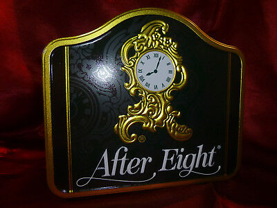 1998 After Eight Tin - Mantle clock shaped with embossed logo - Food advertising