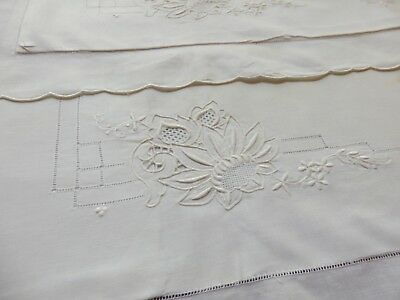 Antique Pillow Shams Hand  Embroidery & Drawnwork - Never Used