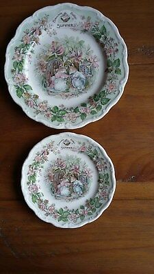 "Brambly Hedge SUMMER Decorative Collectable Plates ....8"" & 6"""