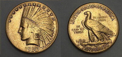 AS SHOWN A LUSTROUS-NICE 1910 Indian Head $10.00 Gold  Eagle Coin CV RETAIL $899