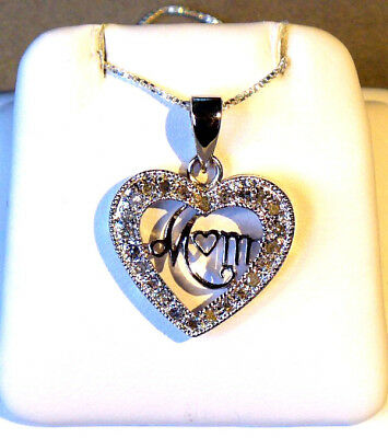 """NATURAL DIAMOND STERLING """"MOM"""" HEART PENDANT + NECKLACE - 24 DIA's - .50 ct. TDW"""