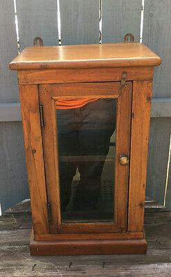Antique Heavy Wooden Hanging Wall Cabinet Kitchen Cupboard w Glass Door
