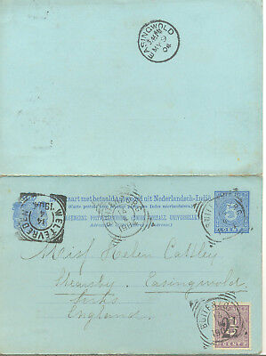 Netherlands Indies uprated 1904 postal stationery letter card to Yorkshire