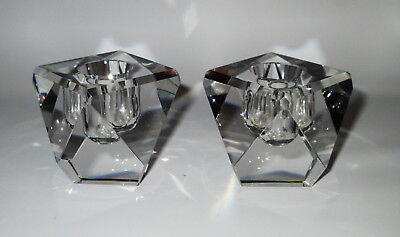 West German 2 Clear Glass Candle Holders Faceted Diamond Shape Labels Vintage