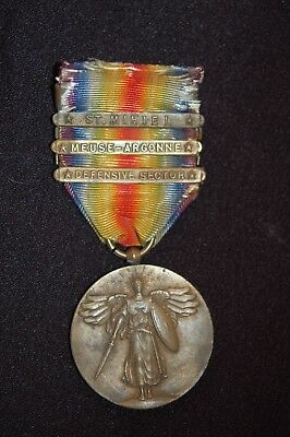 U.S. WWI Victory medal bars Defensive Sector, Meuse-Argonne, St. Mihiel