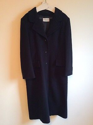 Vintage retro navy blue long winter womens coat from Windsor UK size 14 Cashmere