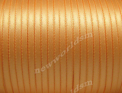 "10y 3mm 1/8"" Gold Double Sided Faced Premium Satin Ribbon Eco FREE PP"