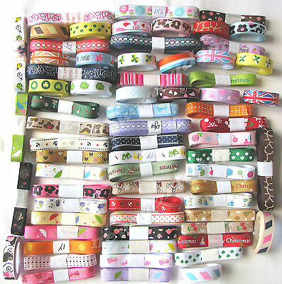 "1y x 15 Styles 15yds 9mm 3/8"" Mixed Grosgrain Ribbon Holiday Eco Premium FREE PP"