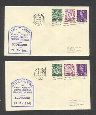 GREAT BRITAIN , 1963 , SCOTLAND DEFINITIVES FDC x 2