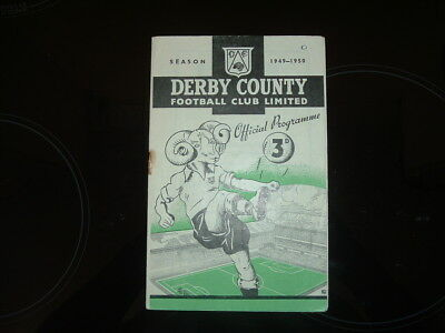 Derby County V Manchester City  - Division 1 - 1949/50 - Free Postage