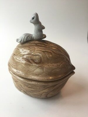 Vintage Ceramic Acorn Candy Bowl/ Dish With Sitting Squirrel On Lid ~ Look
