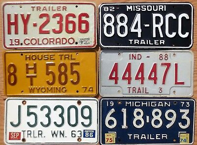 Six Trailer License Plates Number Tag Plate Lot