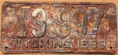 1933 Wyoming License Plate Number Tag - $2.99 Start