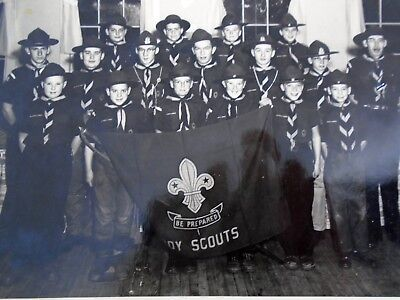 Old B&W Photograph BOY SCOUTS Group Holding Be Prepared Banner Flag Uniform