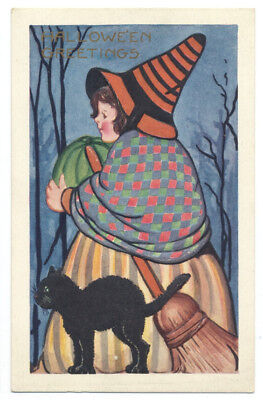 Whitney HALLOWEEN GREETINGS Unusually Dressed YOUNG WITCH & Black Cat ca1920