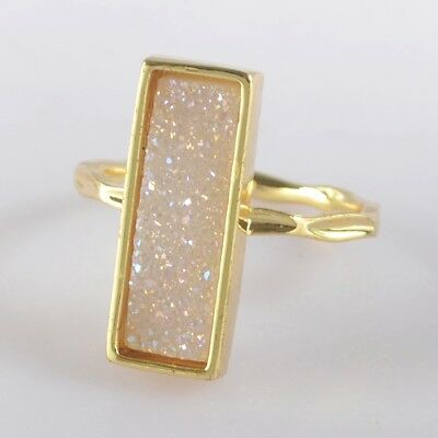 Size 6.5 Natural Agate Druzy Titanium AB Bezel Ring Gold Plated B049398