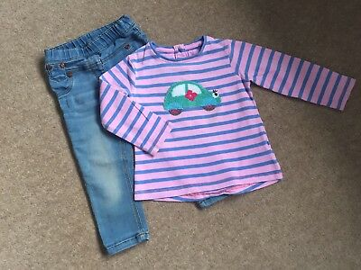 "Girls Next Fun Applique ""car""detailed Top And Skinny Jeans Age 12 - 18 Months"