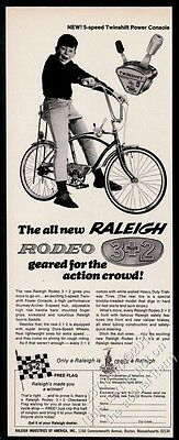 1967 Raleigh Rodeo 5 speed bike photo vintage print ad