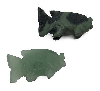 Fish Mini Gemstone Hand Carved Miniature Animal Totem Carving Stone Figurine