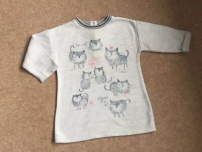 "Girls Next  Fab ""cat"" Detailed Jumper Dress 12 - 18 Months *perfect With Tights*"