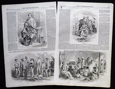 HONG KONG 59th MADRAS REGIMENT CHINESE BARBER CHINA ANTIQUE PRINT / ARTICLE 1857