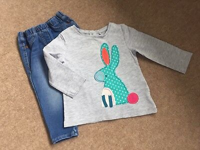 "Girls Next Applique ""rabbit"" Detailed Top And Skinny Jeans Age 9 - 12 Months"