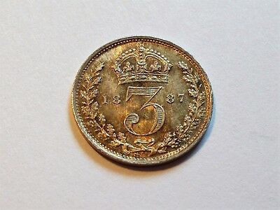 A Gem Toned UNC 1887 Victoria JH Silver Threepence!!!
