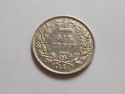A Gem Near UNC 1864 Die7 Victoria YH Sixpence!!!