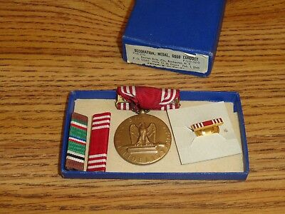 Vintage Ww2 Army Military Medal Good Conduct Medal And Bars February 1, 1945