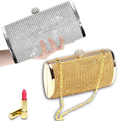 Silver Gold Crystal Diamante Ladies Wedding Prom Evening Clutch Bag Bling Purse