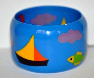 French Designer Multi Color Marquetry Resin Bangle Bracelet With Fish And Boat
