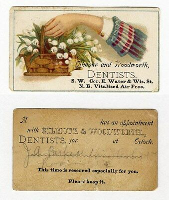 San Francisco DENTIST Appointment Card 1880's Trade Card GILMOUR & WOOLWORTH