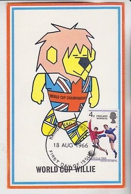 Gb Stamps 1966 World Cup Willie Wembley First Day Maxi Card From Collection