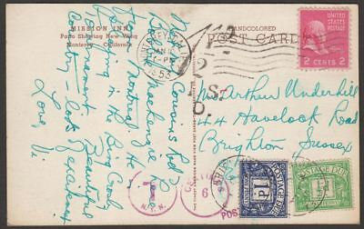 United States 1953 2c Picture Postcard GB 1½d Postage Due Used Monterey Postmark