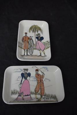2 Fun & Games Foley Bone China Pin Dishes Trays By maureen Tanner