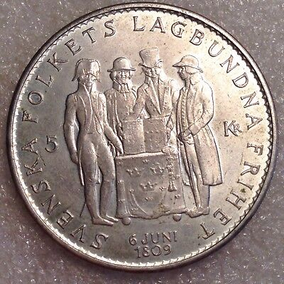 Sweden 5 Kronor 1959 Large Silver Coin