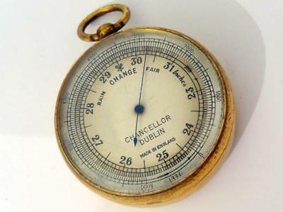 Antique POCKET ANEROID BAROMETER / BALLOONISTS ALTIMETER GILT BRASS VGC & FWO