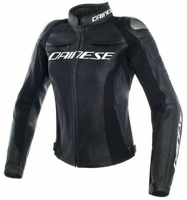 Dainese Racing 3 Perforated Womens Motorcycle Jacket Black/Black/Black