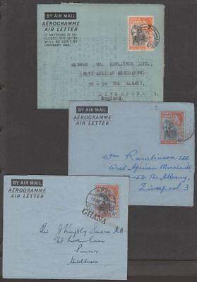 Gold Coast 1955-57 QEII 6d Postal Stat Air Letter inc GHANA Opt Used - 3 Items