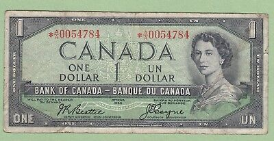 1954 Bank of Canada 1 Dollar Replacement Note - Beattie/Coyne - *A/A0054784 - VG