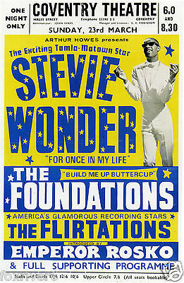 STEVIE WONDER The Foundations Concert Poster Coventry 1969 Tamla Motown reprint