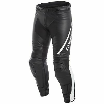 Dainese Assen Mens Leather Motorcycle Pants Black/White
