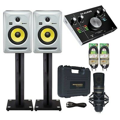 """KRK RP6G3S 6"""" Powered Monitors (Pair) + M‐Track 2x2 Audio Interface + Cables"""