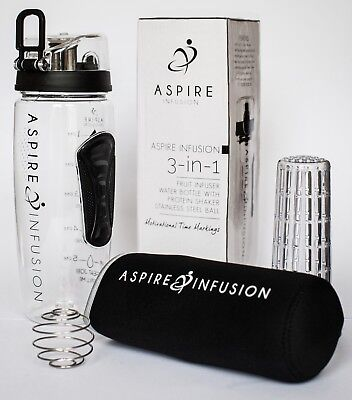Aspire Infusion 3-in-1 Fruit Infusing 1 Litre Motivational Water Bottle | Black