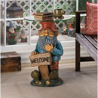 Patio Decor Gnome Figure with Glass Tabletop Side Table Welcome Sign New In Box